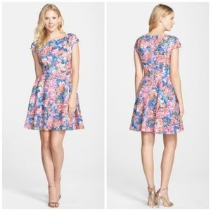 BETSEY JOHNSON Laser Cut Floral Print Scuba Dress